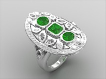 Fashion Ring with Emeralds