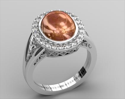 Cabochon Diamond Ring