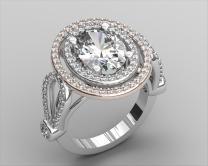 Two Tone Oval Diamond Ring